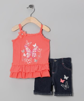 Coral Butterfly Tunic & Denim Shorts - Infant & Girls