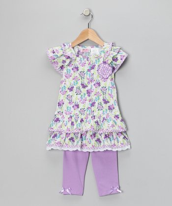 Purple Floral Tunic & Leggings - Infant