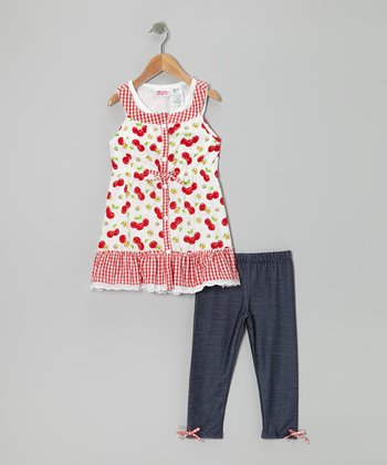 Red Cherry Tunic & Jeggings - Girls