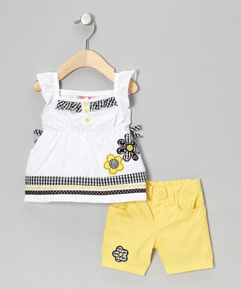 White Flower Tunic & Yellow Shorts - Infant & Toddler