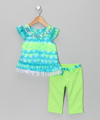 Green Stripe Tunic & Pants - Infant & Toddler