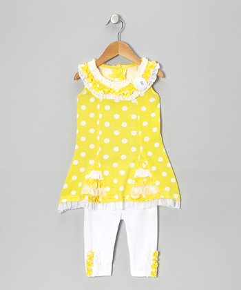 Yellow Polka Dot Tunic & White Pants - Infant, Toddler & Girls