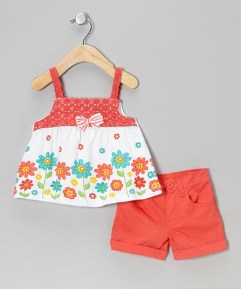 Dark Orange Floral Tank & Shorts - Infant, Toddler & Girls