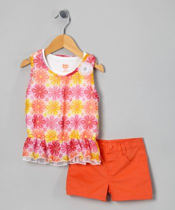 Pink & Orange Flower Tunic & Shorts - Infant