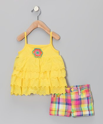 Yellow Ruffle Tunic & Plaid Shorts - Infant
