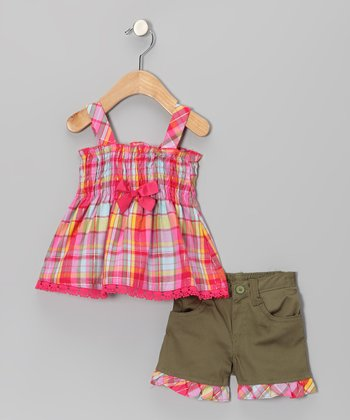 Green & Pink Plaid Tunic & Shorts - Infant & Girls