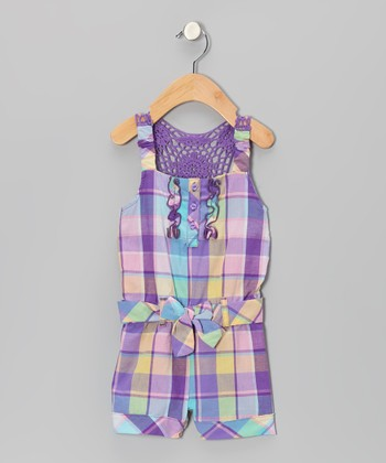 Purple Plaid Romper - Infant, Toddler & Girls