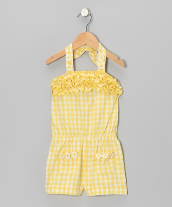 Yellow Plaid Romper - Infant, Toddler & Girls