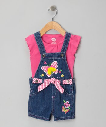 Pink Tee & Blue Denim Embroidered Shortalls - Infant & Girls