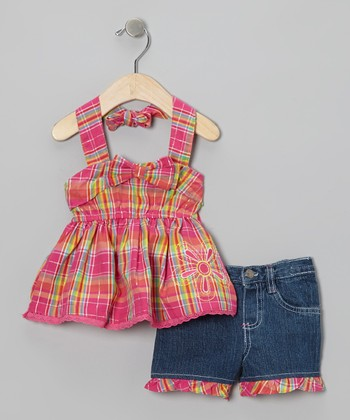 Dark Pink Plaid Halter Top & Denim Shorts - Infant & Girls