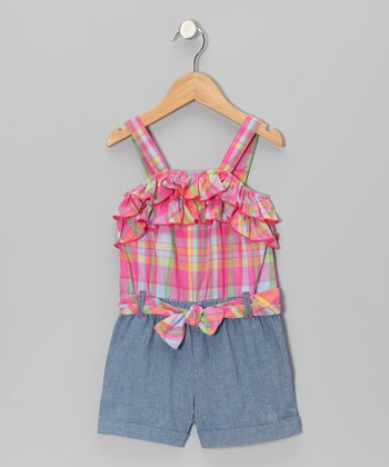 Dark Orange Plaid Romper - Infant, Toddler & Girls