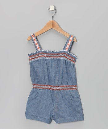 Orange & Blue Denim Romper - Toddler & Girls