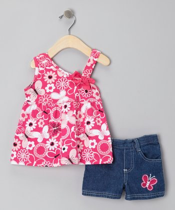 Pink Butterfly Tank & Dark Blue Denim Shorts - Infant, Toddler & Girls