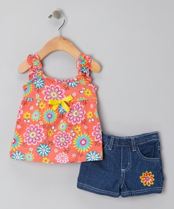 Orange Floral Tank & Blue Denim Shorts - Infant