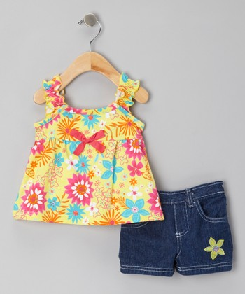 Yellow Floral Tank & Blue Denim Shorts - Infant