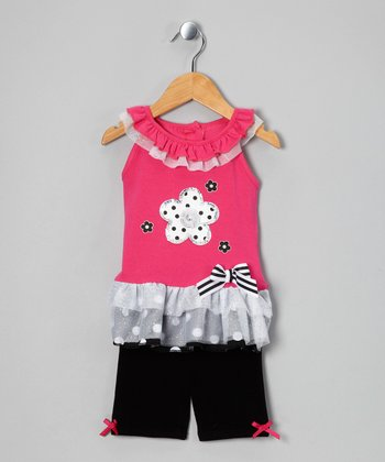 Pink Flower Tunic & Black Shorts - Infant & Girls