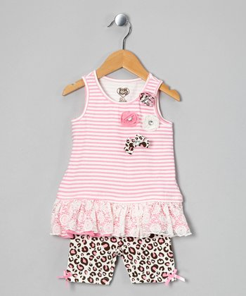 Pink Stripe Tunic & Cheetah Shorts - Girls