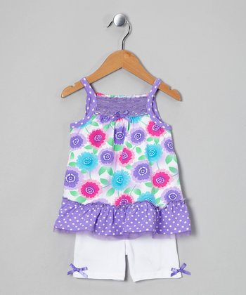 Purple Flower Tunic & White Shorts - Infant, Toddler & Girls