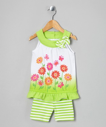 Green Flower Tunic & Stripe Shorts - Infant