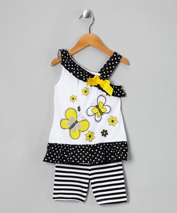 White Butterfly Tunic & Stripe Shorts - Infant