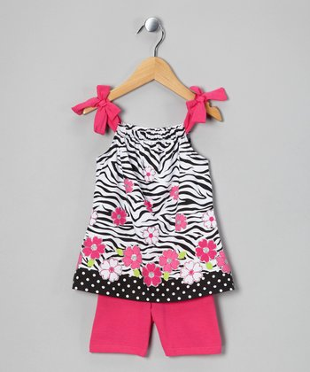 Pink Zebra Tunic & Shorts - Toddler