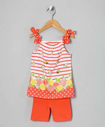Orange Zebra Tunic & Shorts - Girls