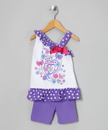 Purple Heart Tunic & Shorts - Infant, Toddler & Girls
