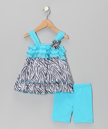 Aqua Zebra Tunic & Shorts - Infant & Toddler