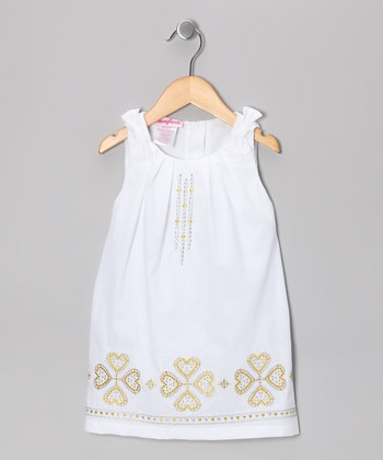 White Heart Swing Dress - Infant