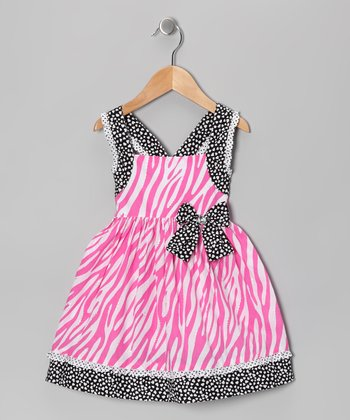 Pink & White Zebra Dress & Diaper Cover - Toddler