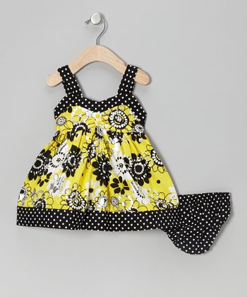 Yellow Floral Shimmer Dress - Toddler
