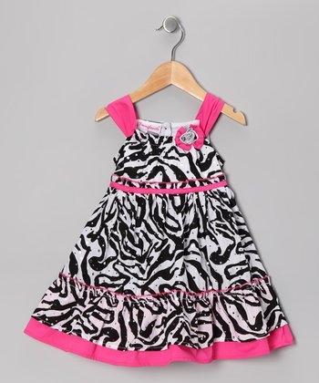 Black & Hot Pink Zebra Dress - Toddler