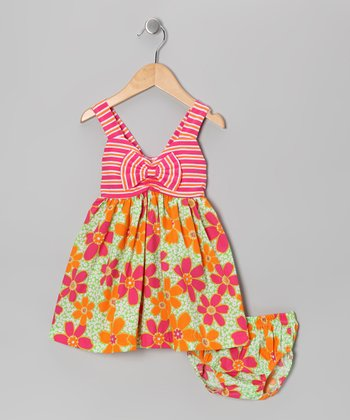 Pink Flower Stripe Dress - Girls