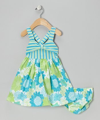 Aqua & Turquoise Floral Dress - Toddler