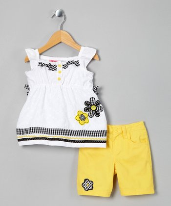 White Flower Eyelet Tunic & Yellow Shorts - Toddler