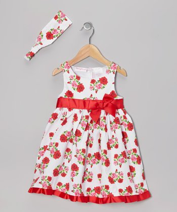 White & Red Floral Dress & Headband - Toddler & Girls