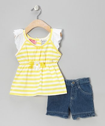 Yellow Stripe Top & Denim Blue Shorts - Infant, Toddler & Girls