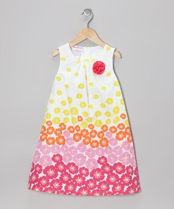 White & Pink Floral Shift Dress - Infant