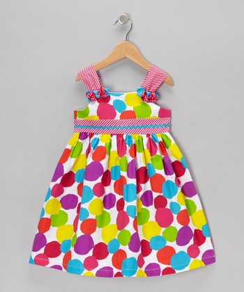 White & Pink Spot A-Line Dress - Girls