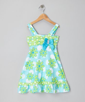 Blue & Teal Floral Ruffle Dress - Girls