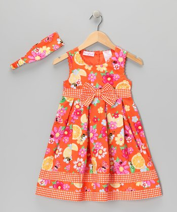 Orange Flower Dress & Headband - Toddler