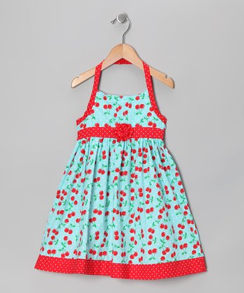 Pastel Blue Cherry Dress - Toddler & Girls