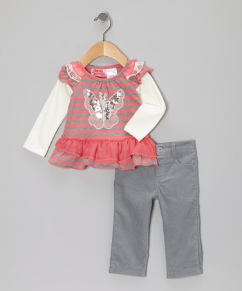 Coral Stripe Layered Top & Gray Pants - Infant