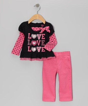 Pink 'Love' Layered Top & Pants - Girls