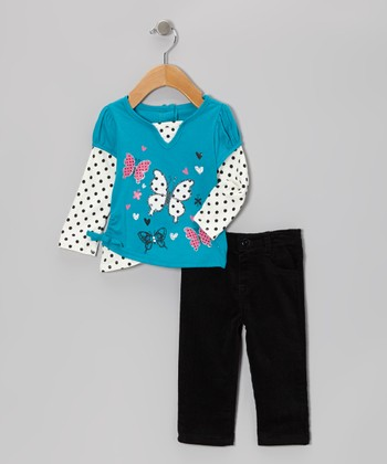 Blue Butterfly Layered Top & Black Pants - Girls