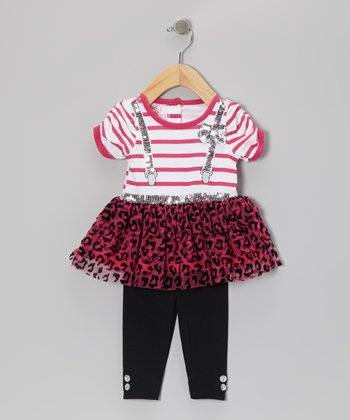 Pink Faux Suspender Tunic & Black Leggings - Infant