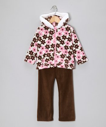 Pink Floral Faux Fur Jacket & Pants - Infant, Toddler & Girls
