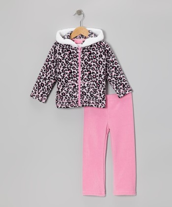 Pink Leopard Zip-Up Hoodie & Pants - Infant & Girls