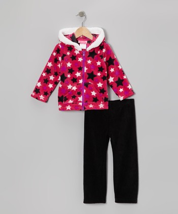 Pink Star Zip-Up Hoodie & Pants - Infant