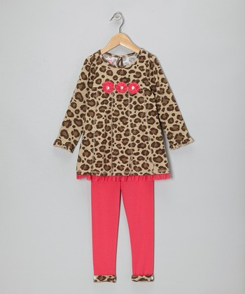 Beige Leopard Tunic & Pink Leggings - Infant, Toddler & Girls